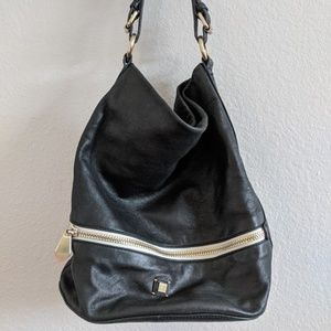 Pour La Victoire Black Leather Bucket Shoulder Bag